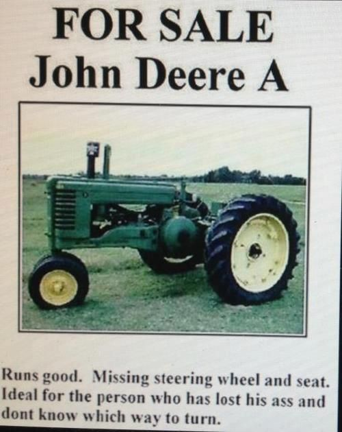 Tractor Wheel Person : John deere a runs good missing steering wheel and seat