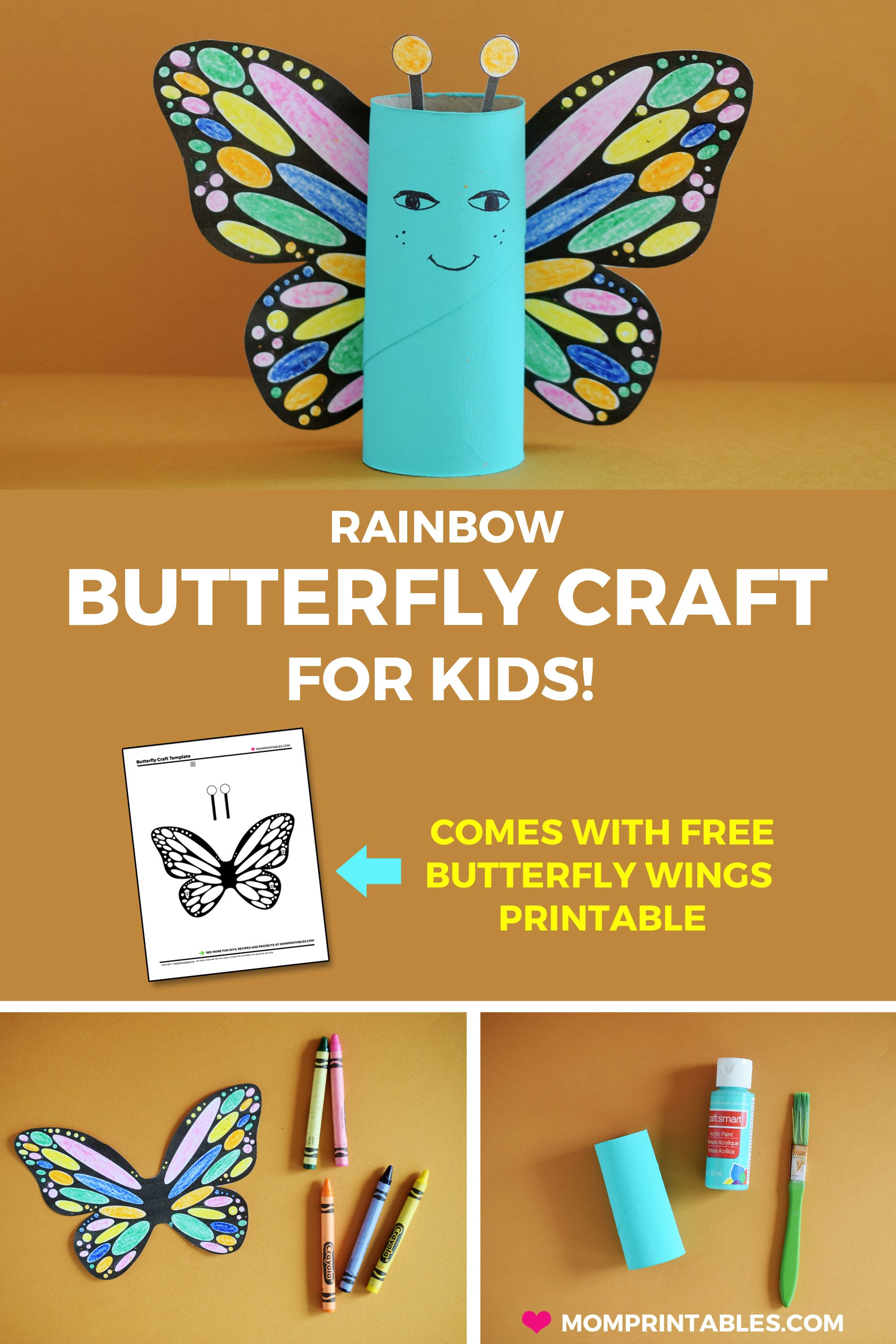 Rainbow Butterfly Paper Roll Craft Free Printable 3rd Graders