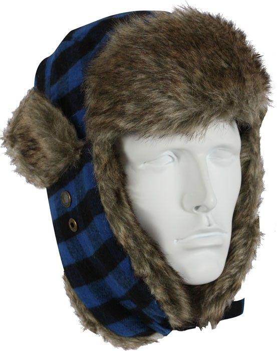 Blue Buffalo Plaid Bomber Aviator Fur Flyer s Trapper Hat  346fb01be7