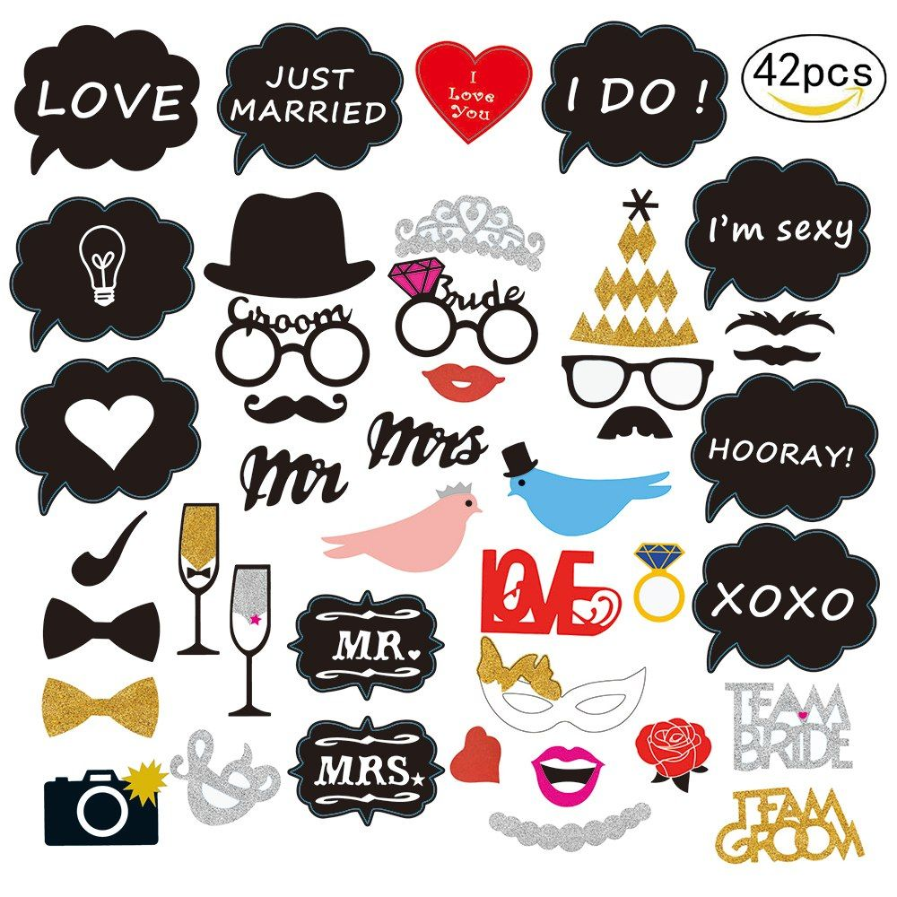 10Pcs//Set Wedding Party Photography Props Mr Mrs Booth Heart Bachelorette Deocr