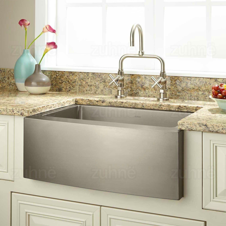 Zuhne 24 Inch Farmhouse Apron Deep Single Bowl 16 Gauge Stainless Steel  Luxury Kitchen Sink