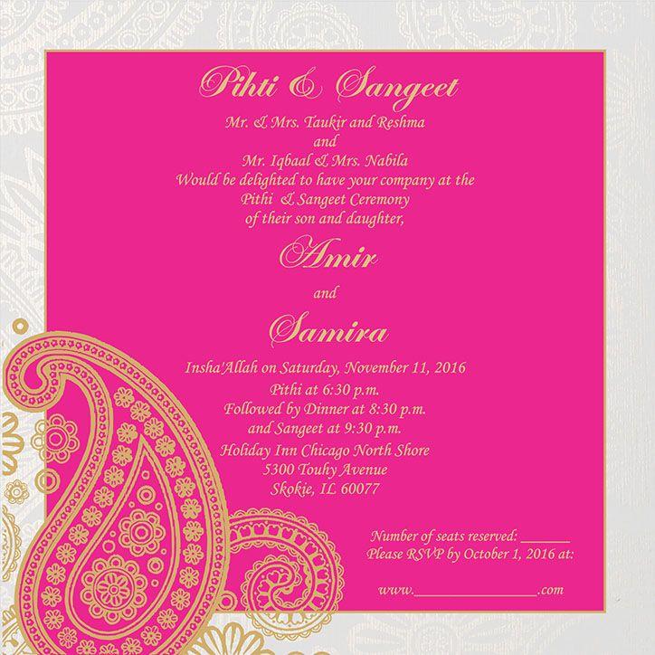 pithi and sangeet ceremony wording