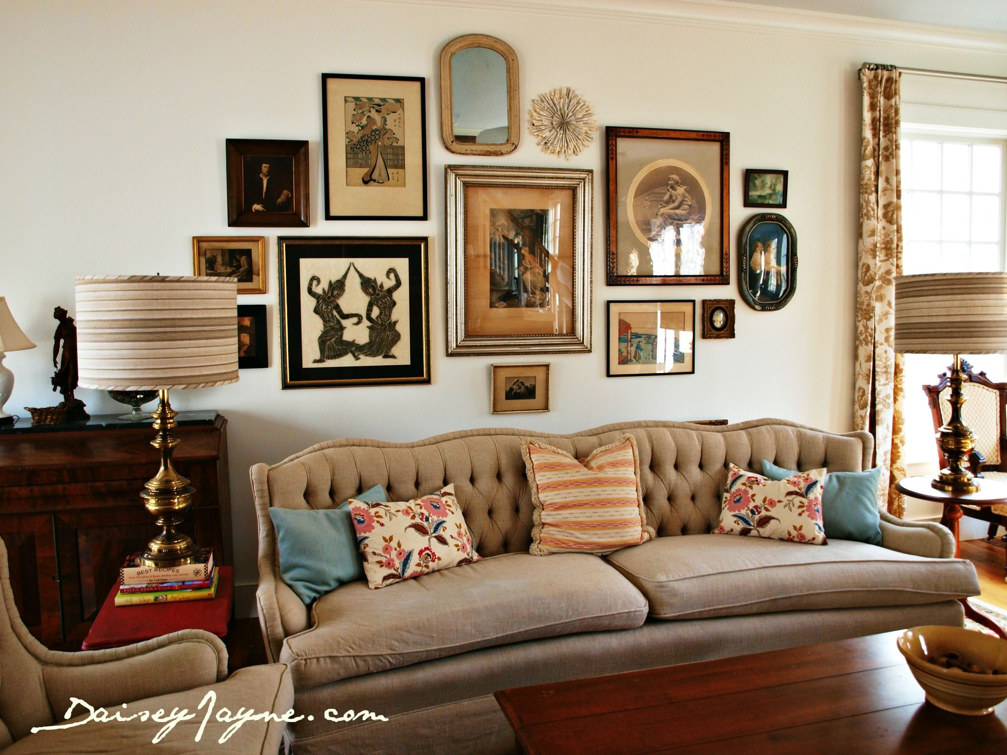Interesting Gallery Wall Gallery Walls A Solution For More Artwork Than Wall Space Vintage Living Room Living Room Wall Vintage Living Room Design #vintage #living #room #wall #decor
