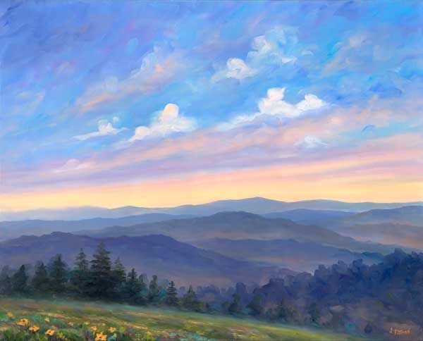 Smoky Mountain Afternoon Oil Painting On Canvas Landscape Art Prints Landscape Oil Paintings Mountain Oil Painting Landscape