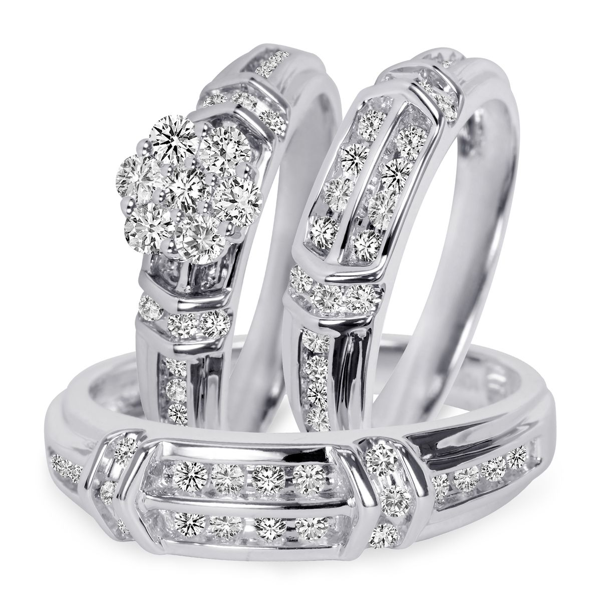 1 10 Carat T W Diamond Trio Matching Wedding Ring Set 10k White Gold