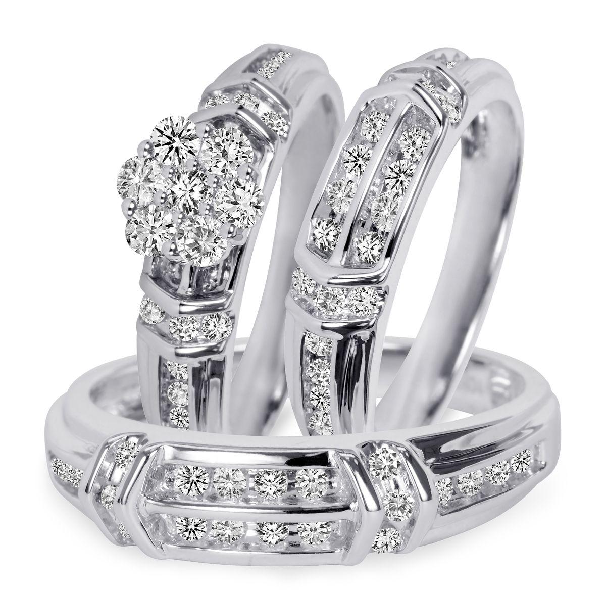 1 10 Carat TW Diamond Trio Matching Wedding Ring Set 10K White Gold