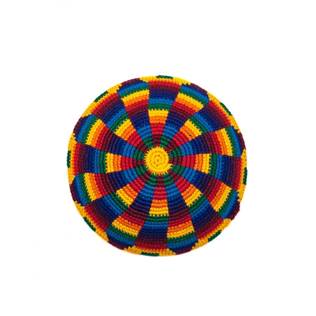 Guatemalan Psychedelic Rainbow Kippot-Yarmulkes   Häkeln