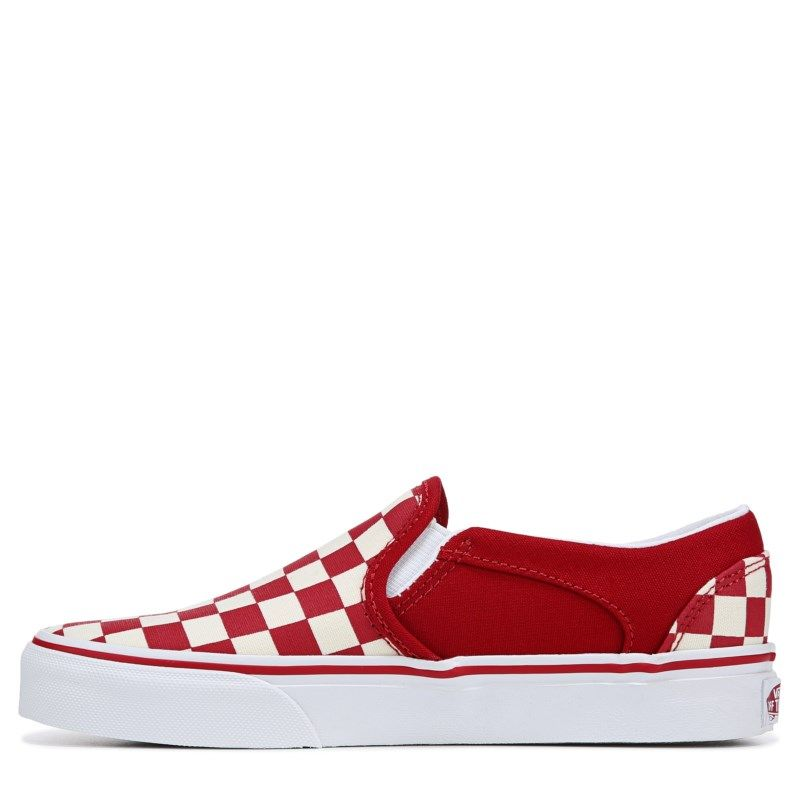 Vans Women's Asher Slip On Sneakers (CheckerboardRed) | Red
