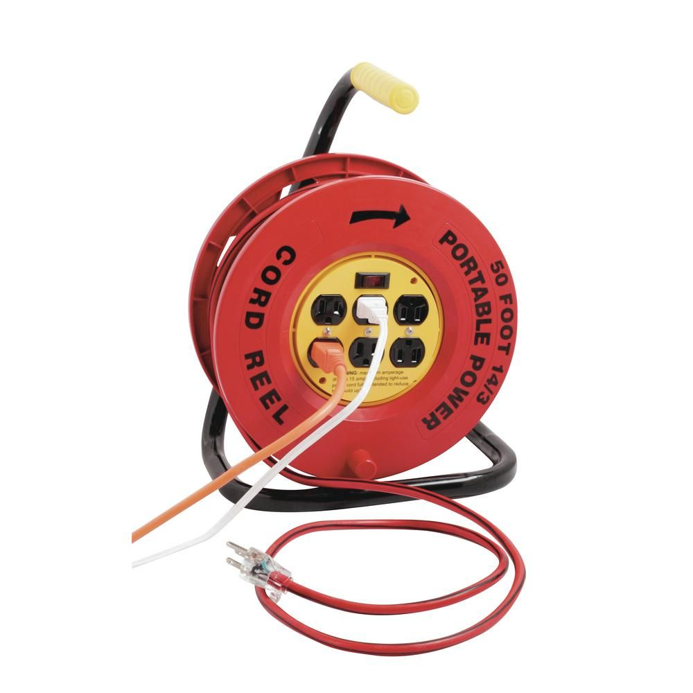 Southwire 50 Ft 14 3 Red Cord Reel Power Station With 6 Outlets