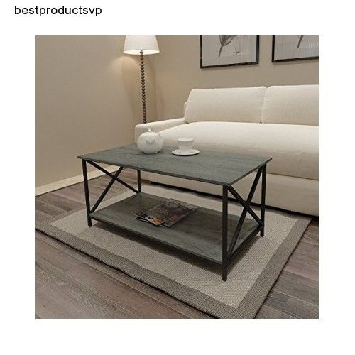 Ebay Rustic Coffee Table Furniture Living Room Wood Metal Black Weathered Grey Oak Unbranded Traditional