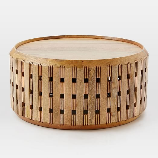 Pierced Wood Drum Coffee Table