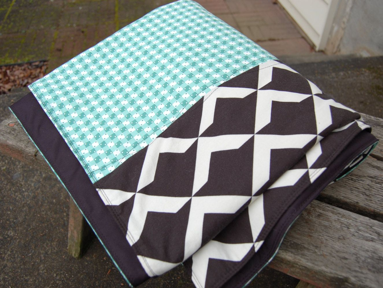 Modern Outdoor Waterproof Picnic Blanket Rug Mint Green Black And White By Poppiezlove On Etsy With Images Waterproof Picnic Blanket Picnic Blanket Indoor Furniture
