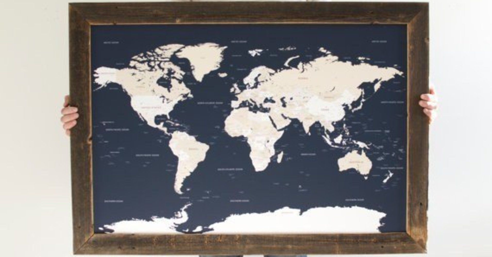 11 adventure ready mothers day gifts for the mom with wanderlust navy world map reclaimed wood push pin travel map gift for husband reclaimed wood frame christmas gifts for husband gumiabroncs Images