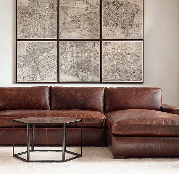 restoration hardware petite maxwell chair. rh - the petite maxwell leather right-arm sofa chaise sectional (prefer \ restoration hardware chair