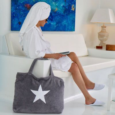 strandtasche grau frottee mit stern hotel avanti fuerteventura byrh beach bag. Black Bedroom Furniture Sets. Home Design Ideas