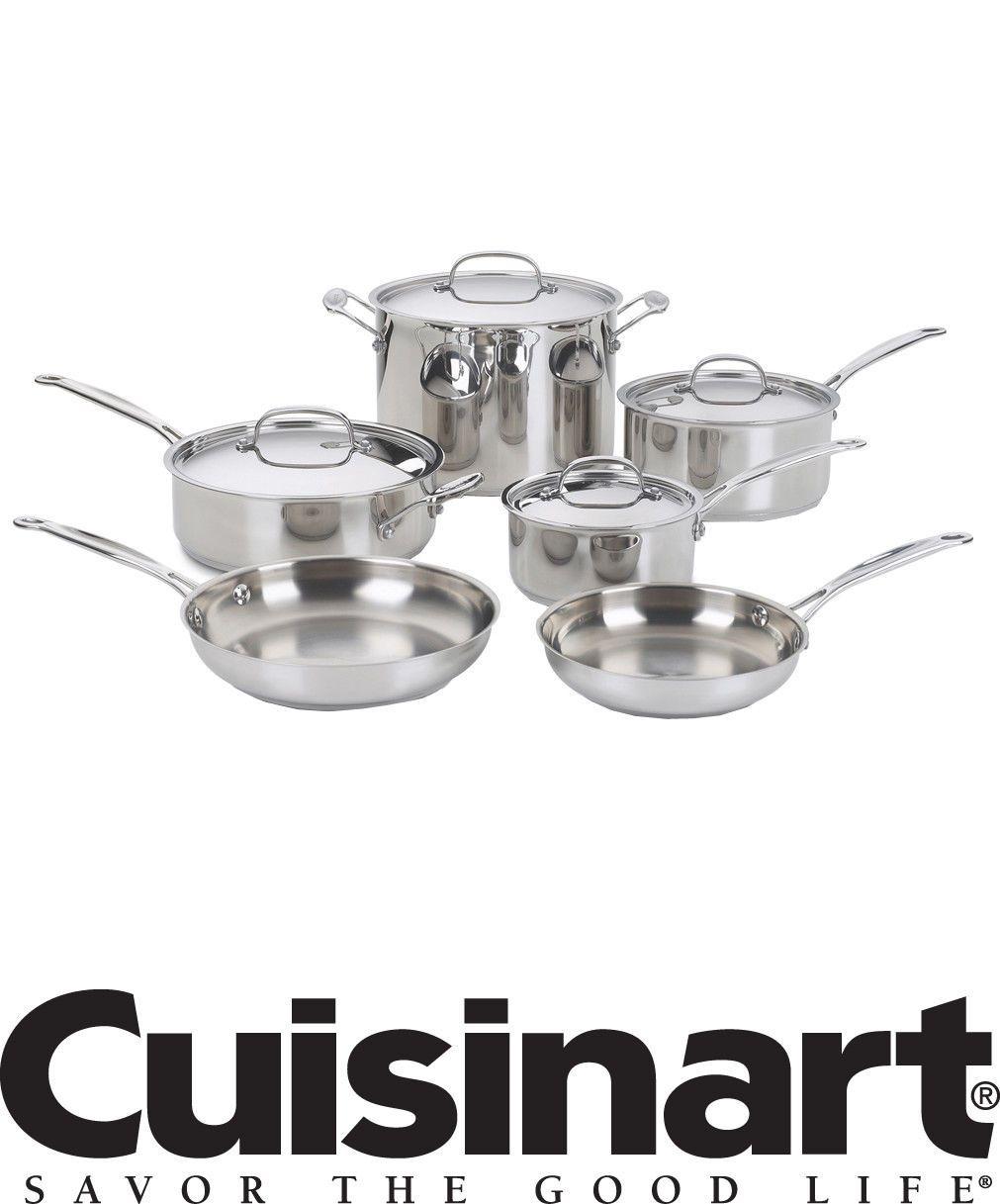 Pots Pans Cuisinart 77-10 Chef/'s Classic Stainless 10-Piece Cookware Pro Set