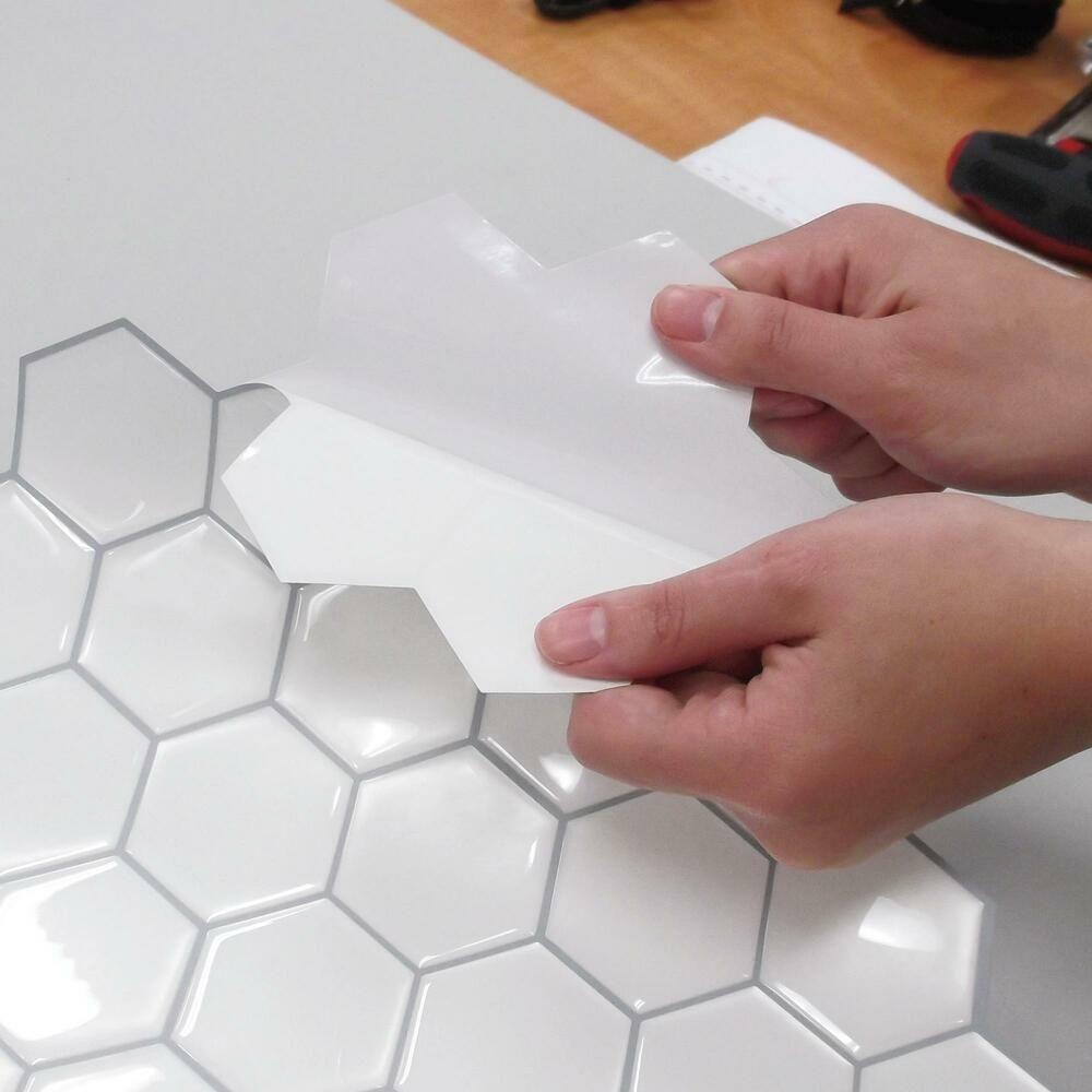 Pearl Hexagon Tile Peel And Stick Backsplash Peel Stick Backsplash Stick On Tiles Backsplash Wallpaper