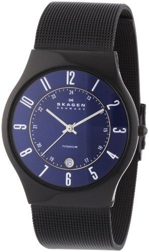 Skagen Men's T233XLTMN Royal Blue Dial And Black Signature Skagen Band Watch, http://www.amazon.com/dp/B0009SY5RW/ref=cm_sw_r_pi_awd_K0Mtsb07S9HJM