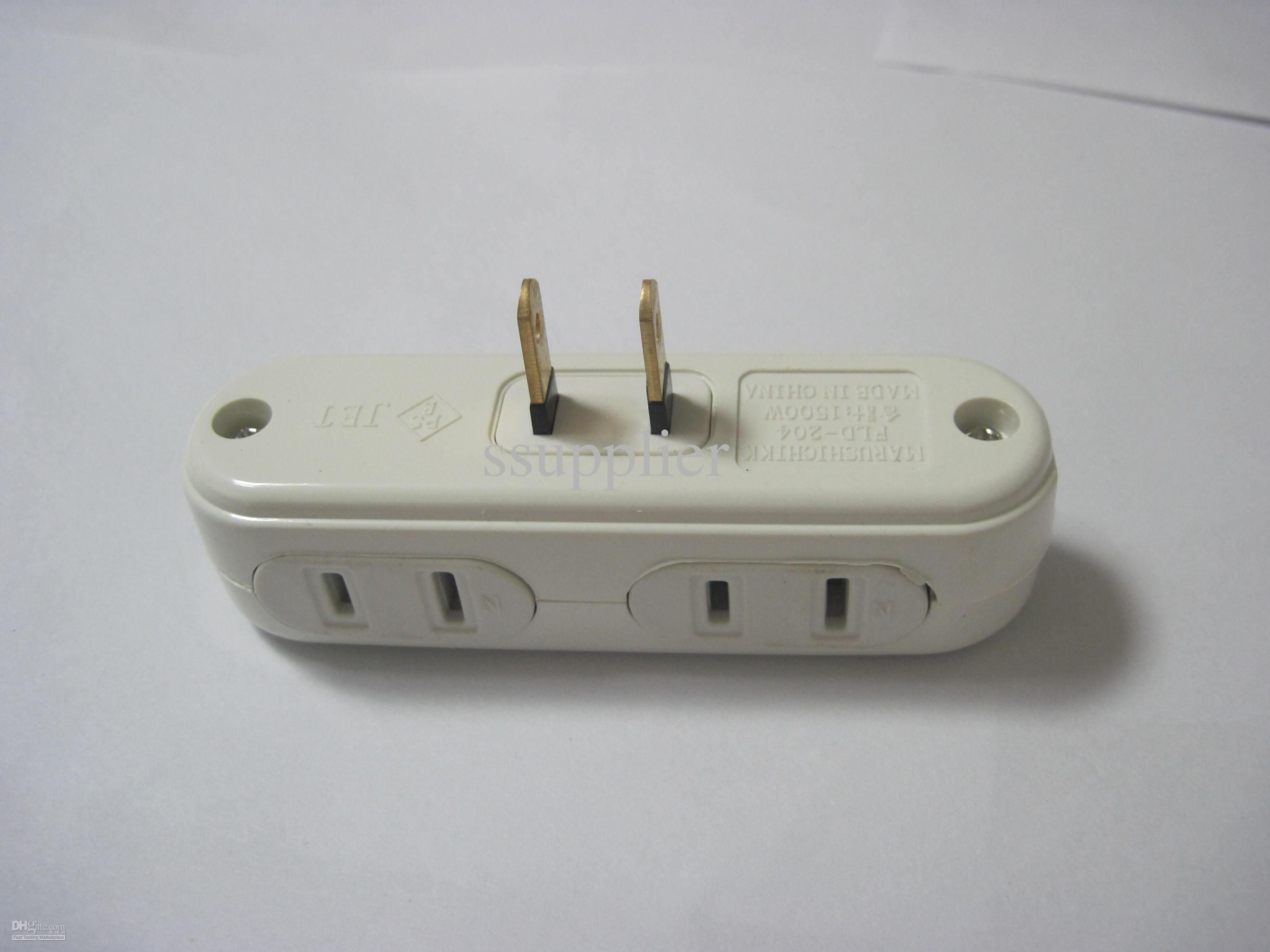 One Port US AC Power Splitter to 4 Port Power Socket Outlet ...
