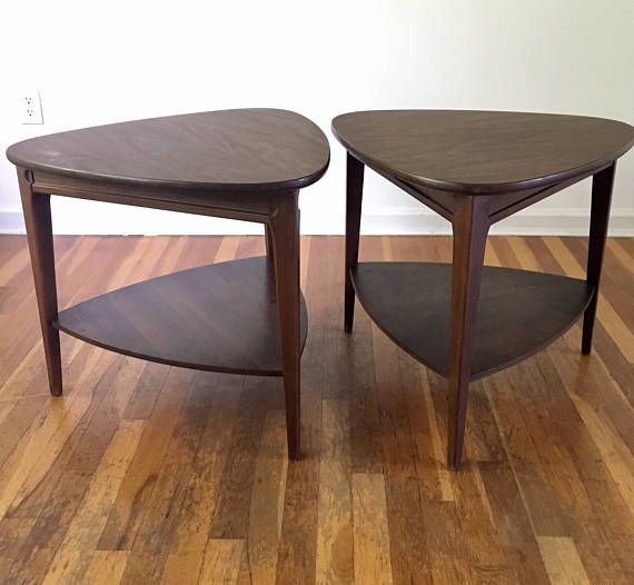 Mersman Triangle Side Table Set Marked 31 5 This Pair Is In Good Vintage Condition With Age Appropriate Wear Shows Some Light S Furniture Fantasy Table