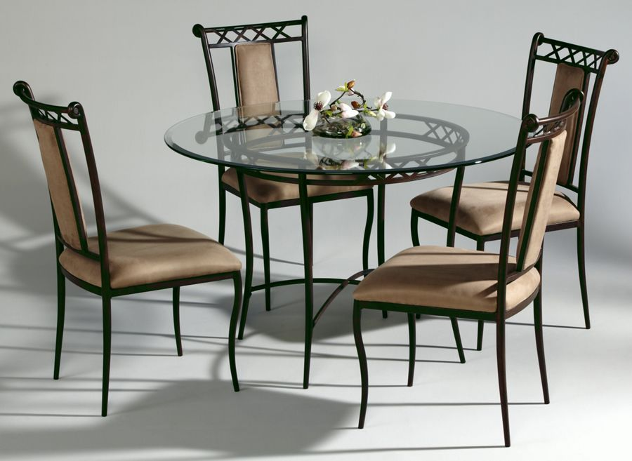 0724 Round Glass Top Wrought Iron Dining Set 0724 Dt B Chintaly Imports Metal Dining Room Round Dining Table Sets Glass Dinning Table