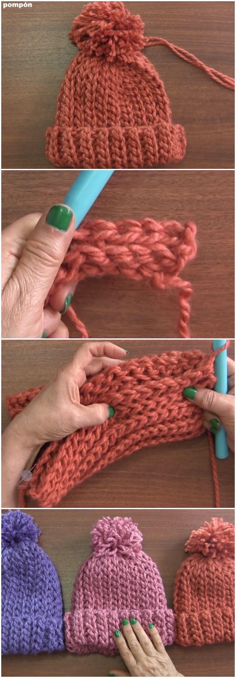 Crochet Beautiful Beanie hat Elastic Stitch   Mütze, Häkeln und Stricken