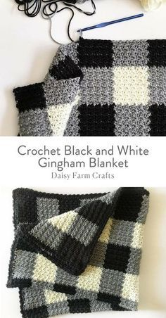 Free Pattern  Crochet Black and White Gingham Blanket