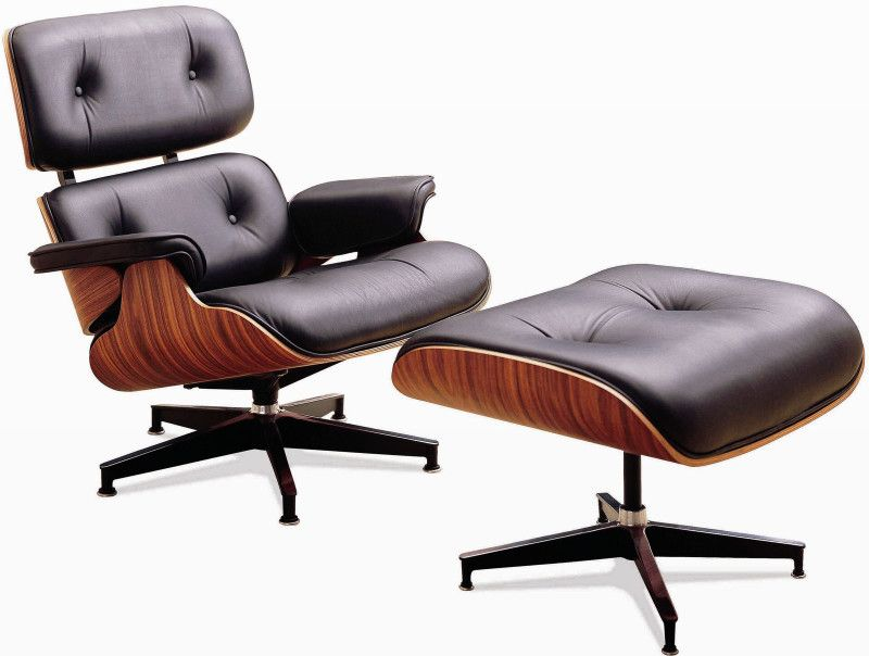 Eames lounge chair and ottoman Black leather and wood | Chairs ...