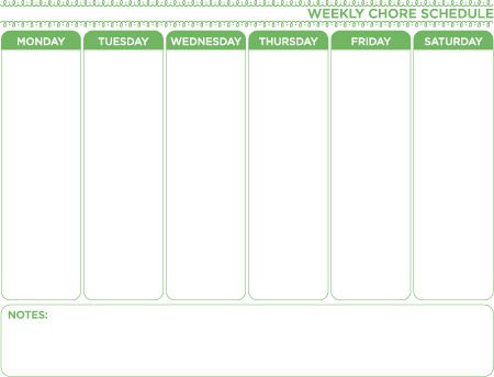 Weekly Chore Chart Template  Free Download  Get More