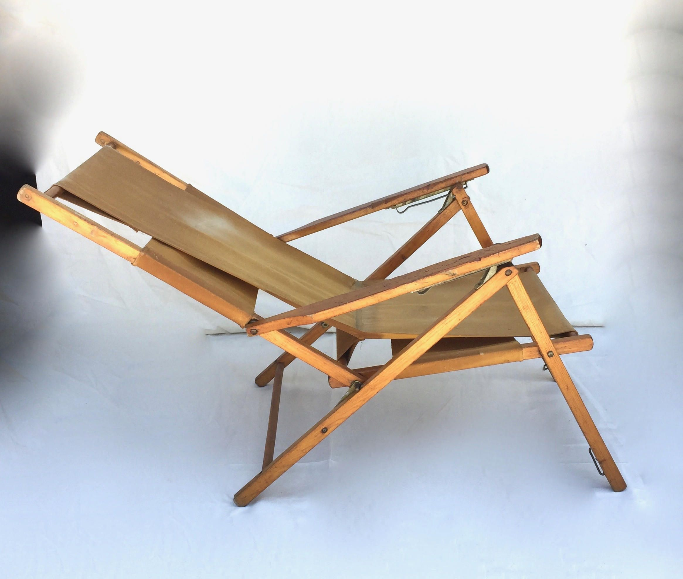 Vintage folding beach chairs - Vintage Beach Chair Folding Camp Chair C 1960 S By Gentryantiques On Etsy