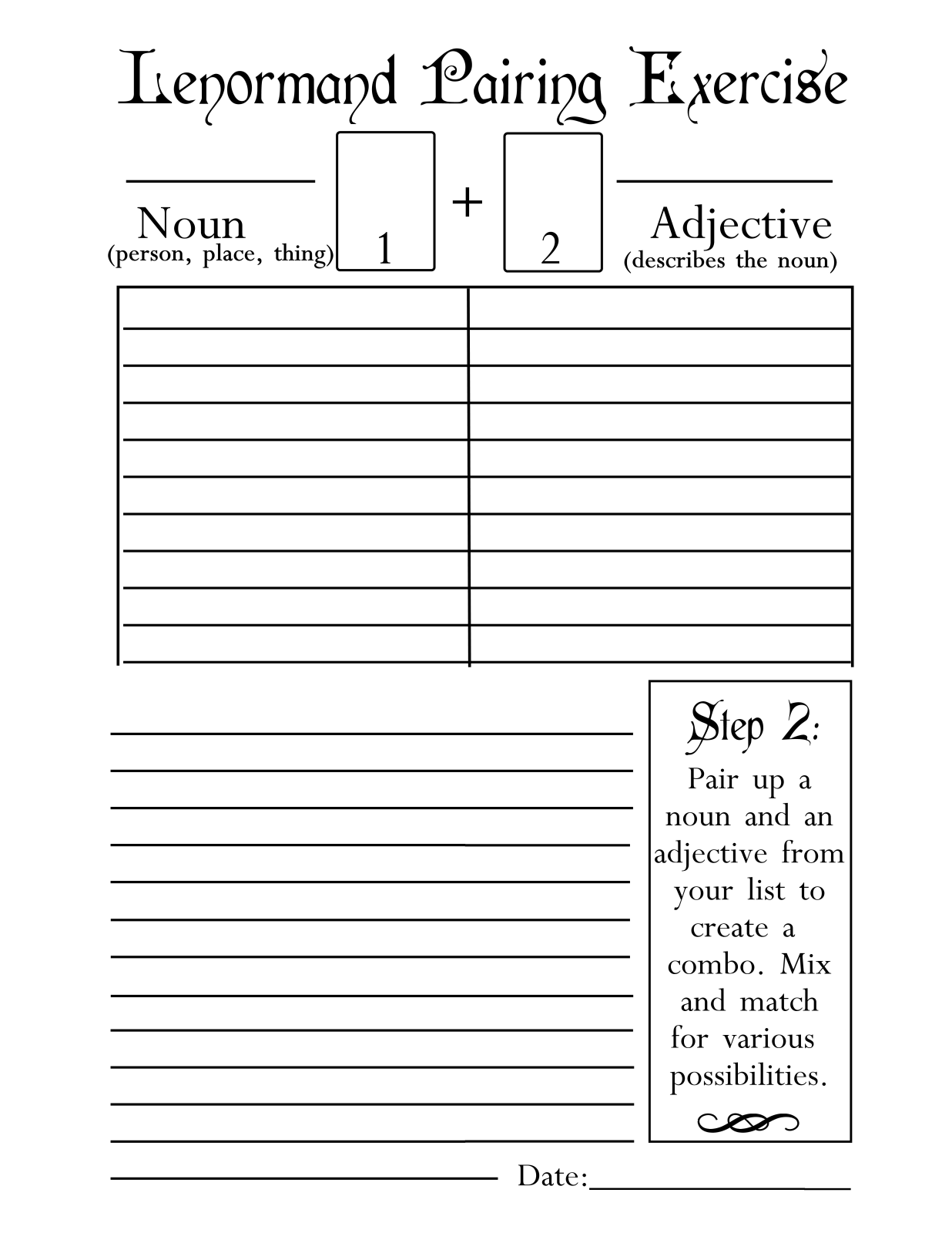 Lenormand Pairing Exercise Worksheet