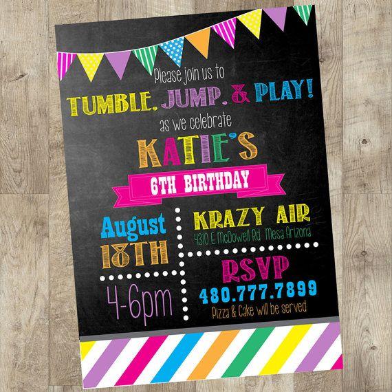 jump party invitation birthday party idea birthday invites