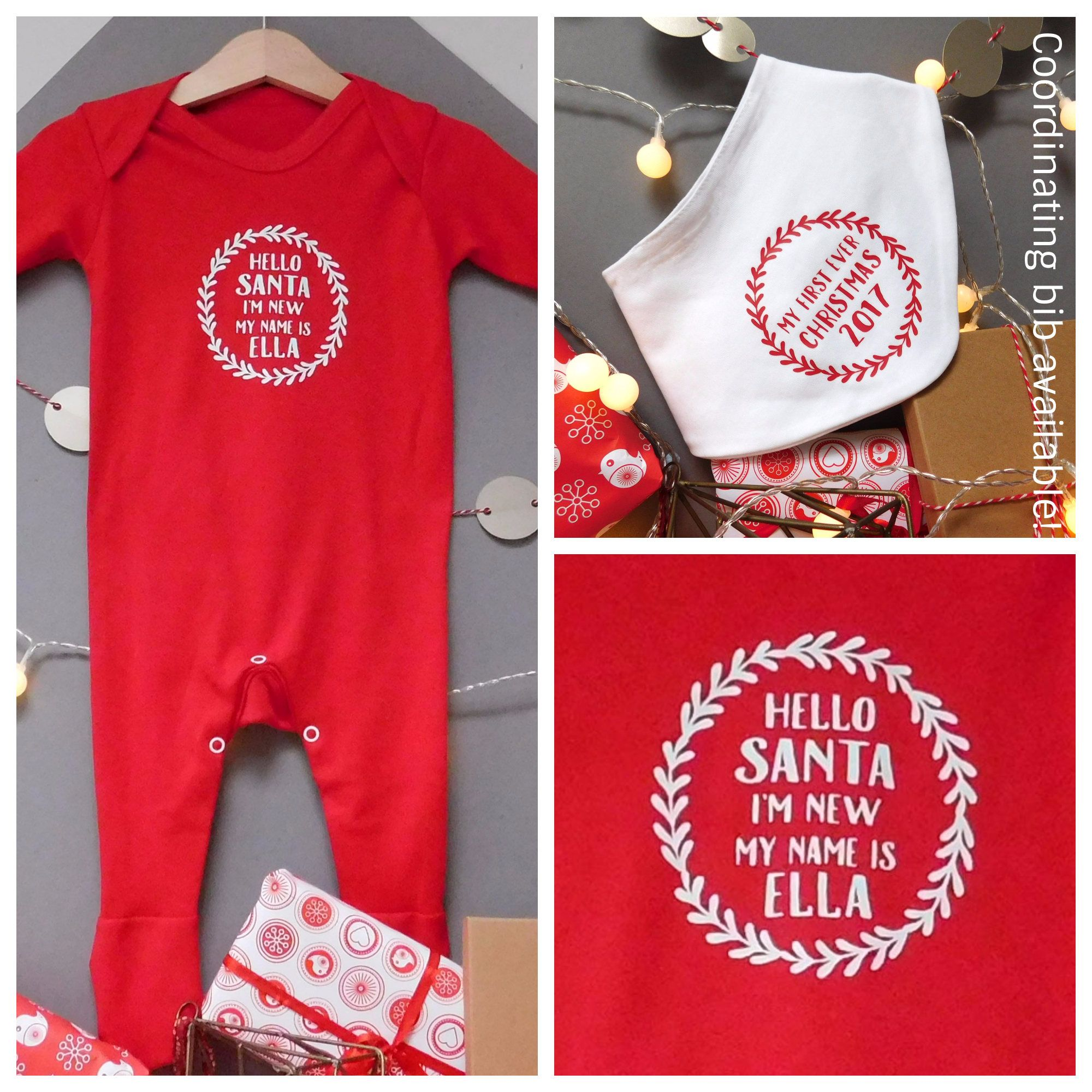 0977fbce9479 Personalised Baby 1st Christmas Babygrow   First Christmas Romper ...