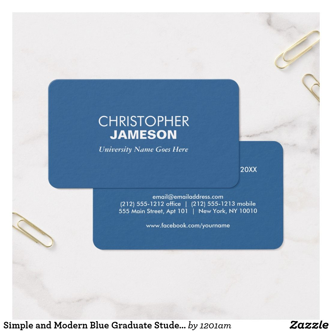 Simple and Modern Blue Graduate Student University Business Card ...
