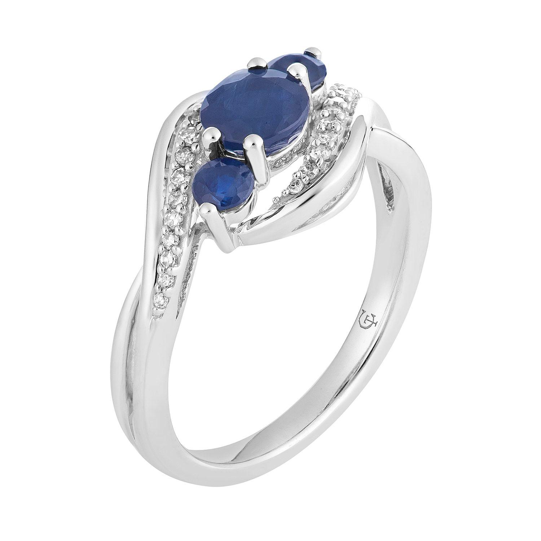 10k White Gold Sapphire 1 10 Carat T W Diamond 3 Stone Ring Affiliate Gold Sapphire White Stone In 2020 White Gold Sapphire Stone Rings White Gold