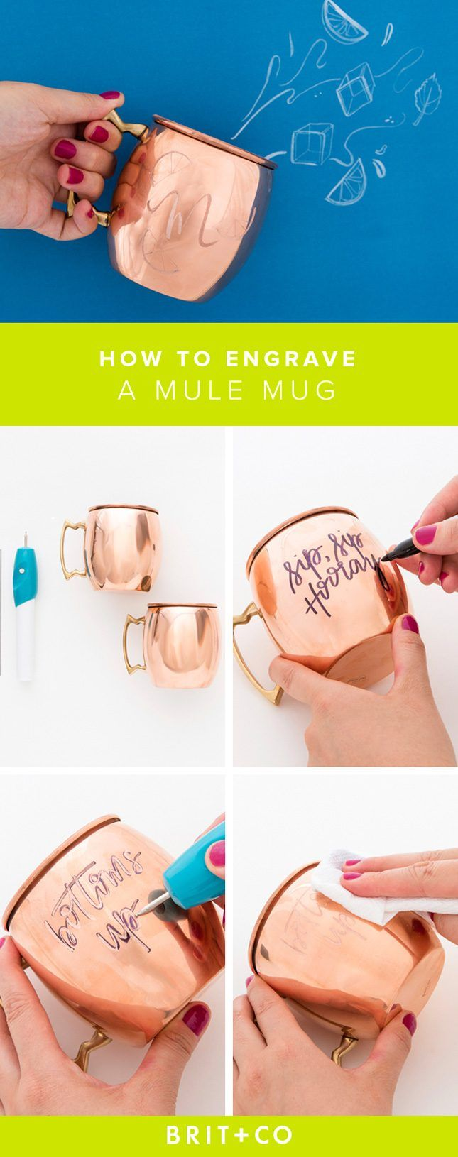 These DIY Engraved Copper Mugs Will Be the Star of Any Party via Brit + Co