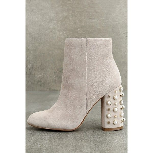 d132ebd76ec Steve Madden Yvette Taupe Suede Leather Studded Booties ( 119) ❤ liked on  Polyvore featuring shoes