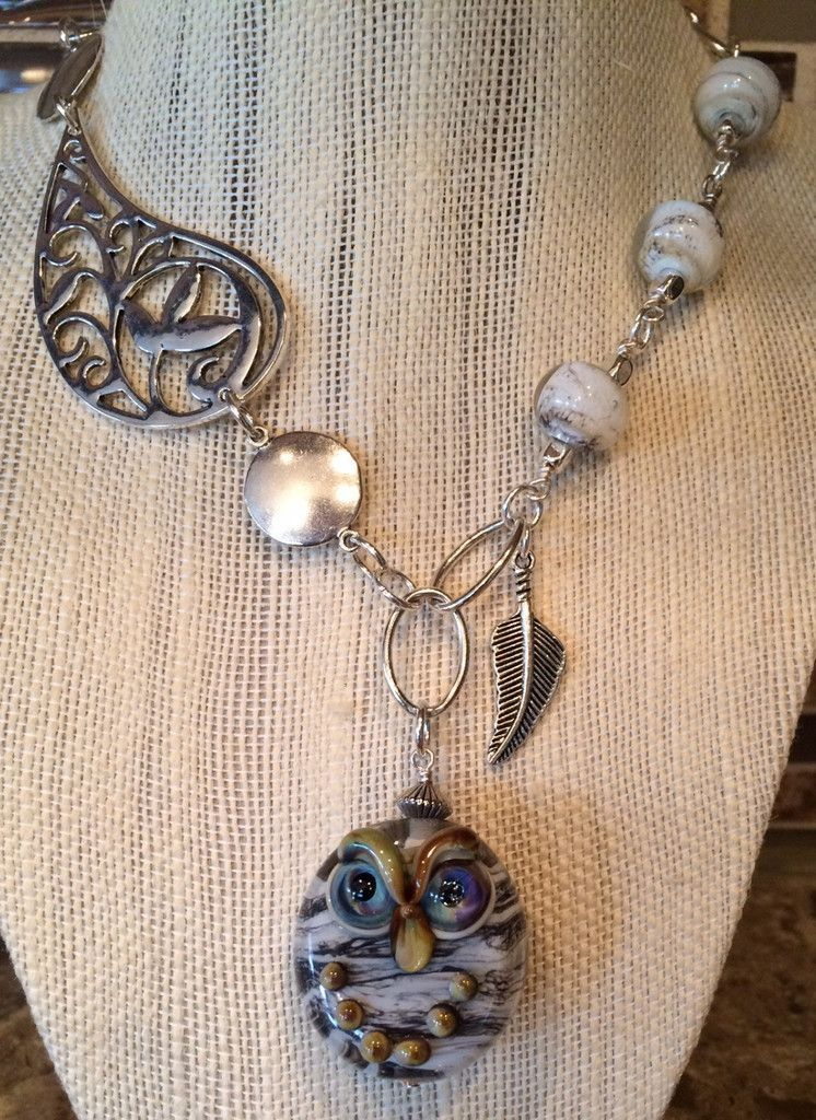 Large owl Encased Ebony Ivory