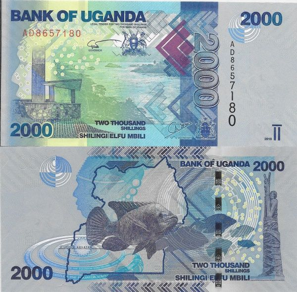 UGANDA - CÉDULA DE 2000 SHILLINGS ANO 2010 - PEÇA EM ESTADO DE CONSERVAÇÃO FLÔR DE ESTAMPA !