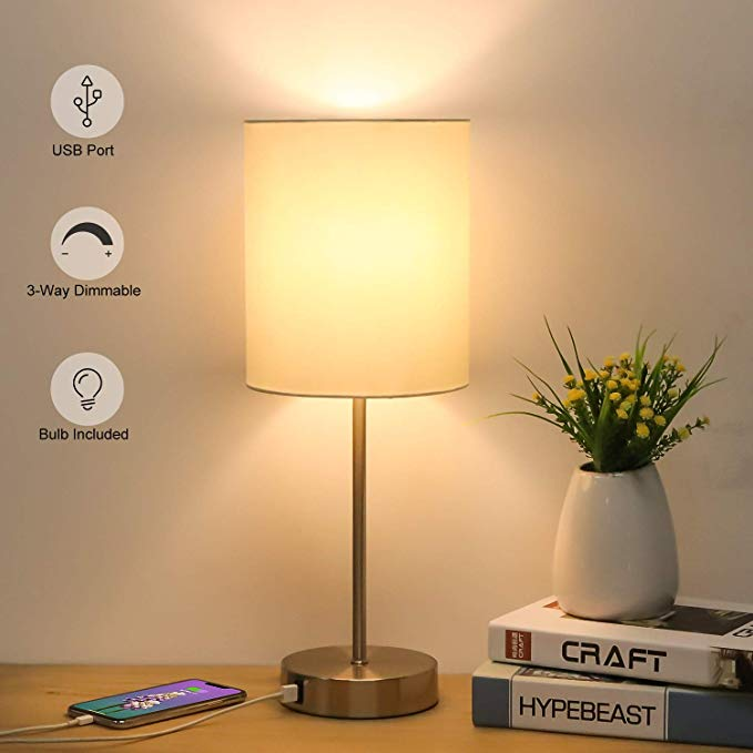 Usb Bedside Table Lamp 3 Way Dimmable Touch Lamp Modern Nightstand Lamp With Round Fabric Lampshade Metal Base In 2020 Nightstand Lamp Bedside Table Lamps Touch Lamp