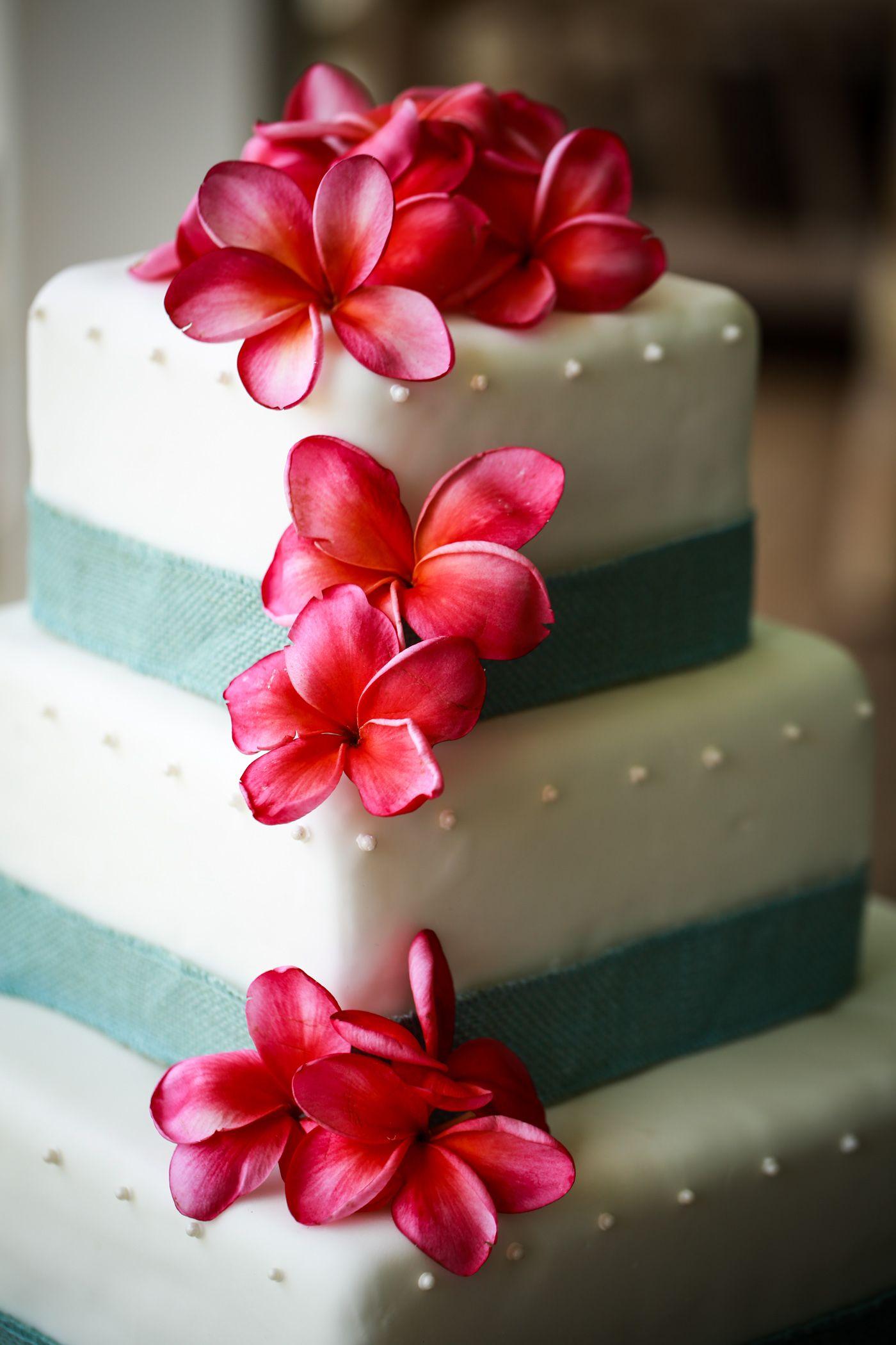 maui wedding cake with fresh plumeria flowers