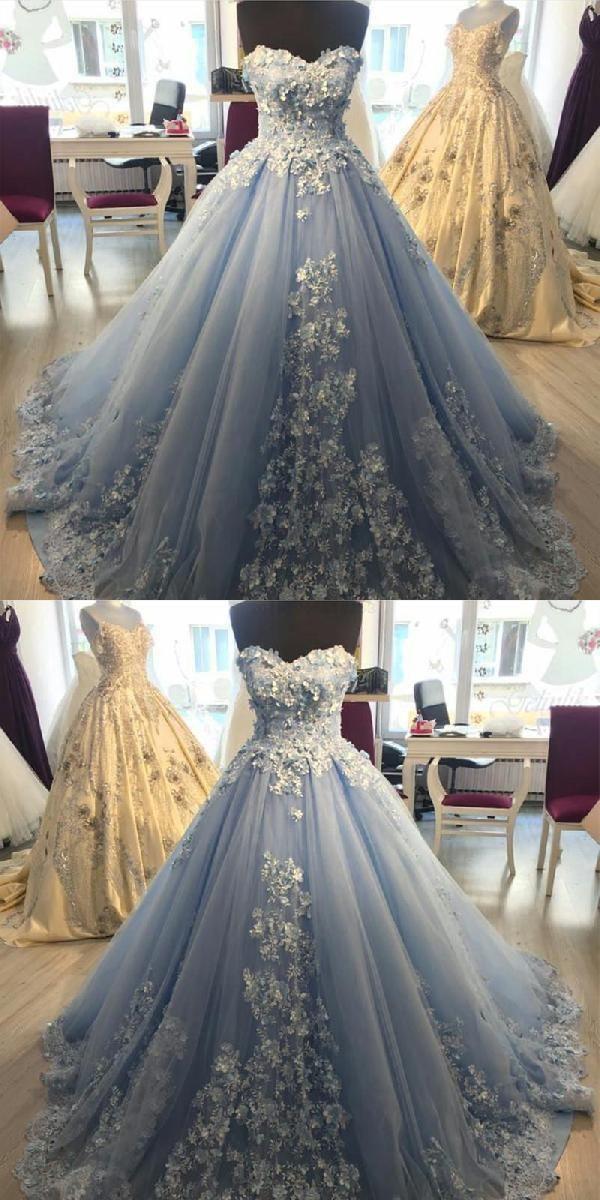 Customized Splendid Prom Dress 2019 Ball Gown Wedding Dress Prom Dress With Appliques Light Blue Wedding Dress Prom Dresses Ball Gown Ball Gown Wedding Dress