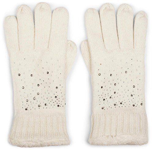 777cd3b4355f5e styleBREAKER warme Handschuhe mit Strass und Fleece Winter Strickhandschuhe  Damen 09010010 Farbe:Creme-Weiß