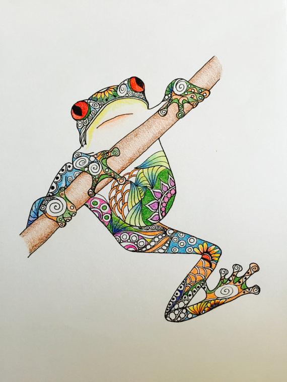 Zentangle Art, Frog Drawing, Hanging frog, Colorful frog, original ...