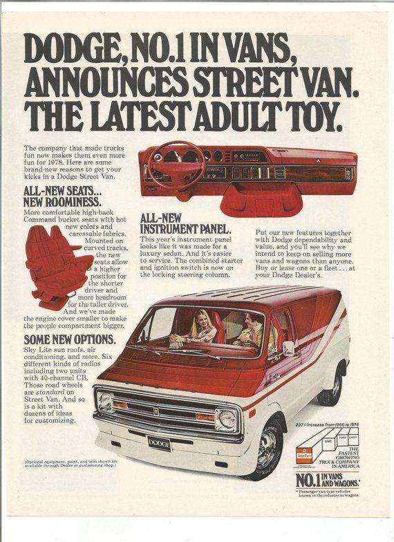 7783578601 1978 Advertisement Dodge Street Van Adult Toys Red White Owner Driver  Collector Dealership Garage Sh