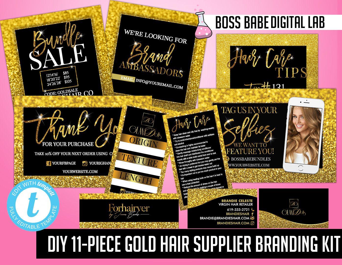 Diy 11 Piece Gold Hair Bundle Branding Kit Gold Hair Bundles