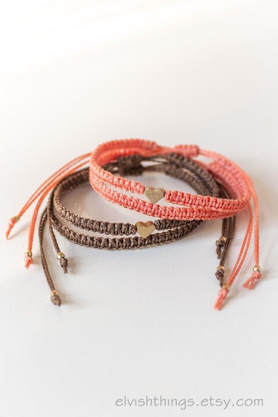 3bb5db5bf42e3 Heart bracelets Long distance boyfriend gift Matching couple ...