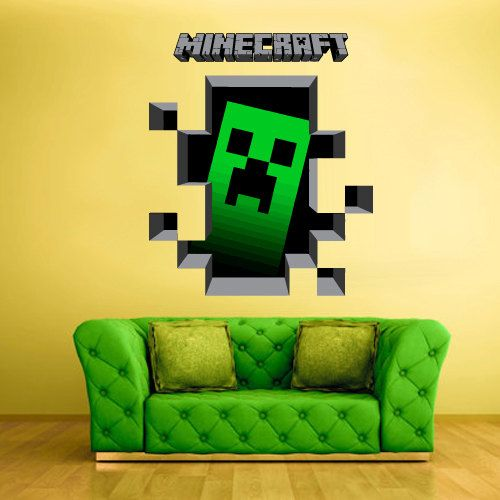 Full color wall decal vinyl sticker decor art bedroom for Awesome minecraft vinyl wall decals