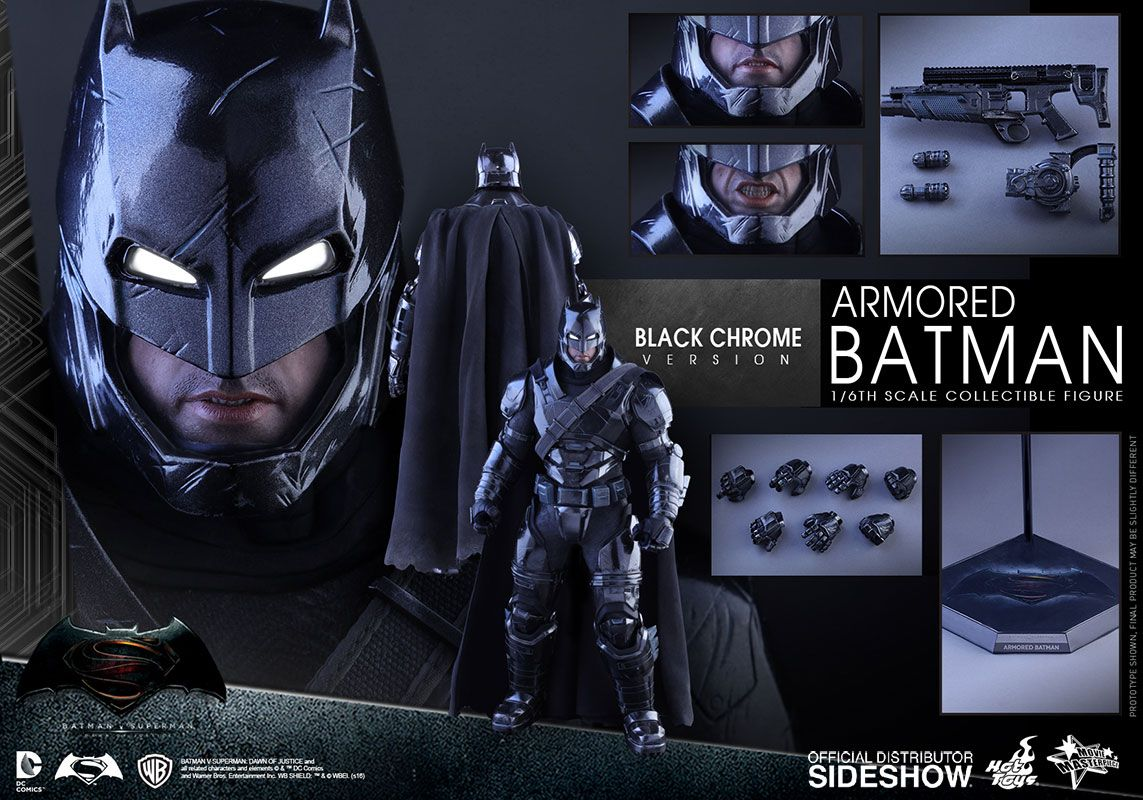 Hot toys car  Hot Toys Armored Batman Black Chrome Version Sixth Scale Figure