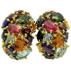 1980s Cellino Colored Stone Dome Earrings.